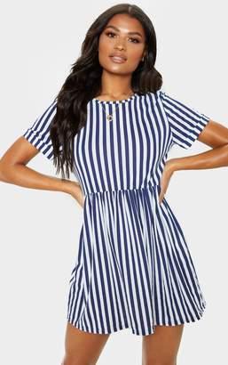 PrettyLittleThing Navy Stripe Print Short Sleeve Smock Dress
