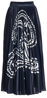 Escada Ratta Paisley Pleated Midi Skirt