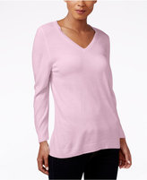 Karen Scott Luxsoft V-Neck Sweater, Only at Macy's