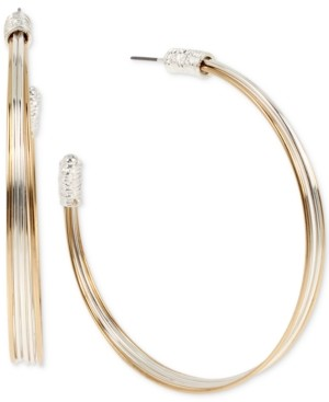 Robert Lee Morris Soho Two-Tone Large Wire Hoop Earrings, 2.7""