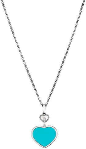 Chopard Happy Hearts 18k Turquoise & Diamond Long Pendant Necklace