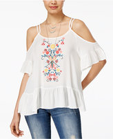 Almost Famous Juniors' Embroidered Cold-Shoulder Ruffle Top