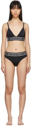 Balmain Black Logo Elastic Bikini