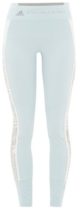 adidas by Stella McCartney Snake-print Side Stripe Leggings - Womens - Blue White
