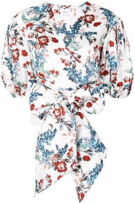 Erdem Floral-Print Puff Sleeve Blouse