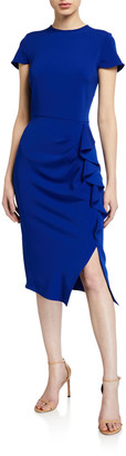 Shoshanna Lumilla Cap-Sleeve Side-Ruffle Stretch Crepe Dress