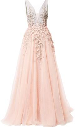 Saiid Kobeisy Embroidered Flared Maxi Dress