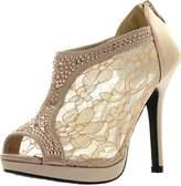 Static Footwear De Blossom Yael-9 Womens Wedding Bridal High Heel Platform Cystal Lace Ankle Bootie Shoes