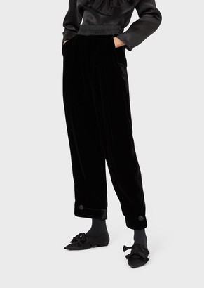 Emporio Armani Liquid Velvet Trousers With Turn-Ups