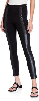 BCBGMAXAZRIA Ponte Moto Faux-Leather Stripe Leggings