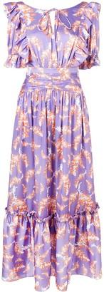 Three floor Floral Print Ruffle Dress