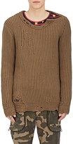 Faith Connexion Men's Destroyed Cotton-Blend Sweater