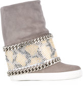 Casadei chain trim studded panel sneakers - women - Calf Leather/Nappa Leather/Calf Suede/rubber - 40