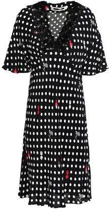McQ Lace-trimmed Polka-dot Crepe De Chine Dress