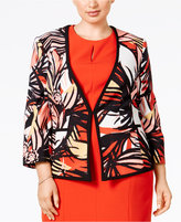 Kasper Plus Size Printed Twill Jacket