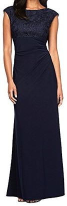 Alex Evenings Navy Ruched Women's Petite Gown Blue 6P