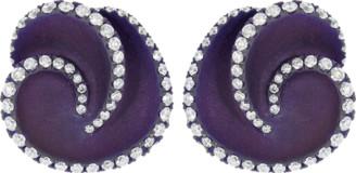 Graziela Diamond and Purple Titanium Stud Earrings