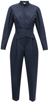 Stella McCartney Crossover-belt Slubbed-twill Jumpsuit - Womens - Navy