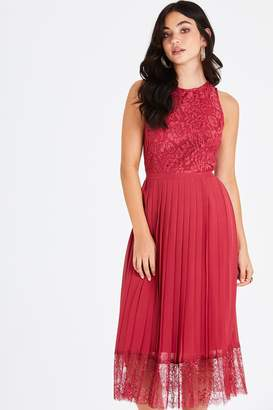 Little Mistress Nadja Red Lace Pleat Midi Dress