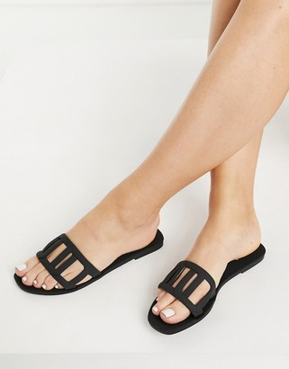 ASOS DESIGN Fortuna woven jelly mules in black