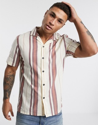 Farah Laredo striped revere collar short sleeve shirt in off white and red