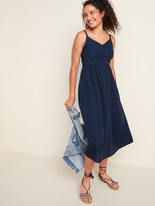 Old Navy Dark-Wash Chambray Cami Fit & Flare Midi Dress for Women