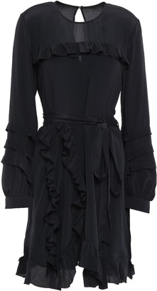 IRO Frill Belted Ruffle-trimmed Crepe De Chine Mini Dress