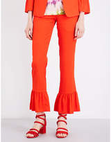 Sandro Frilled-hem cropped trousers