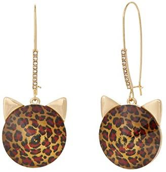 Betsey Johnson Cat Shepherd's Hook Earrings (Leopard) Earring