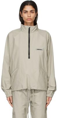 Essentials Beige Half-Zip Track Jacket