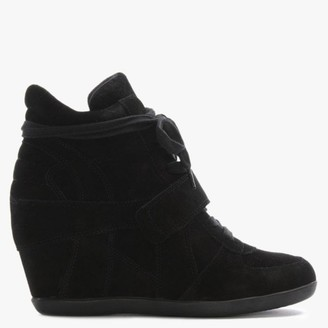 Ash Bowie II Black Suede Wedge High Top Trainers