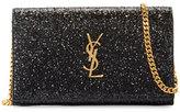 Saint Laurent Monogram Small Glitter Wallet-on-Chain, Black