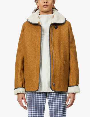Sessun Paola faux shearling-lined wool-blend coat