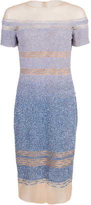 Pamella Roland Ocean Blue Degrade Sequin Dress