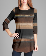 Lily Brown & Beige Stripe Tunic - Plus Too