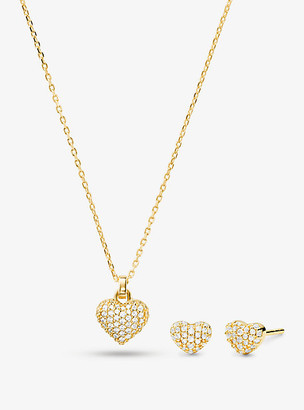 Michael Kors 14K Gold-Plated Sterling Silver Pave Heart Necklace and Stud Earrings Set - Gold