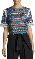 Saloni Ophell-C Chevron Lace Crop Top, Multicolor