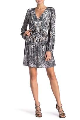 Hale Bob Patterned V-Neck Dress