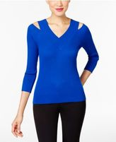 Cable & Gauge Ribbed-Knit Cold-Shoulder Top