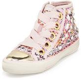 Ash Vanessa Embellished High-Top Sneaker, Pink/Light Pink