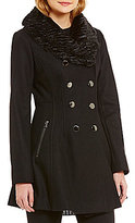 GUESS Double Breasted Fit-and-Flare Military Wool Faux-Fur Collar Melton Coat