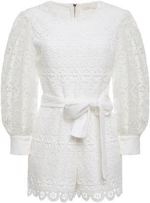 Maje Ingrid Belted Guipure Lace Playsuit