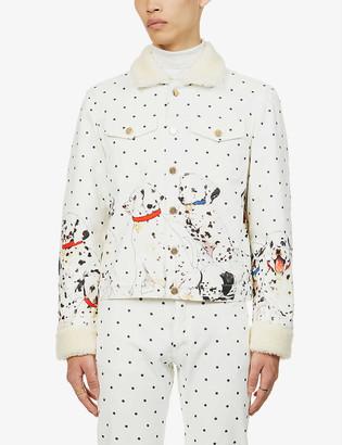 Casablanca Graphic-print denim and shearling jacket