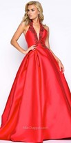 Mac Duggal A-Line Beaded Trim Pleated Ball Gown