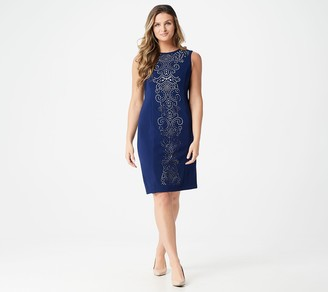 Dennis Basso Sleeveless Luxe Crepe Dress with Cutout Detail