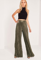 Missguided Crinkle Wide Leg Pants Khaki