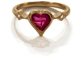 Cathy Waterman Rosecut Rubellite Heart Ring - Yellow Gold