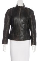 Andrew Marc Leather Stand Collar Jacket