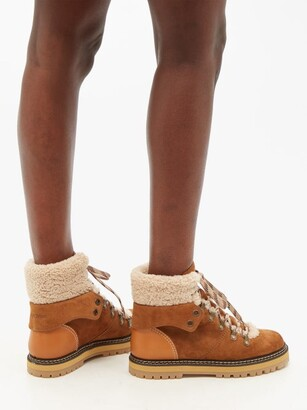 See by Chloe Eileen Shearling-lined Suede Ankle Boots - Tan