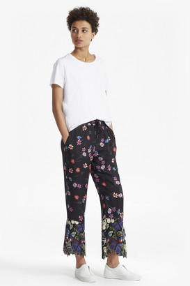 French Connection Botero Lace Mix Tie Waist Trousers